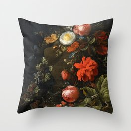 Elias van den Broeck - Floral Still Life with Insects Throw Pillow