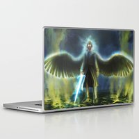 good omens Laptop & iPad Skins featuring Good Omens: Yellow Smoke by Katerina Romanova