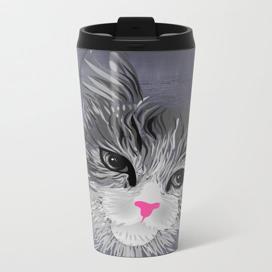 Gray Cat with Pink Nose Metal Travel Mug