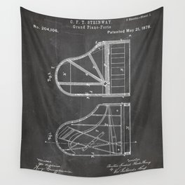 Steinway Grand Piano Patent - Piano Player Art - Black Chalkboard Wall Tapestry