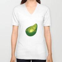 avocado V-neck T-shirts featuring AVOCADO FRUIT by Sofia Youshi