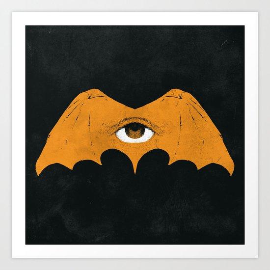 gold bat Art Print