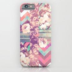 Retro Pink Turquoise Floral Stripe Chevron Pattern iPhone 6 Slim Case