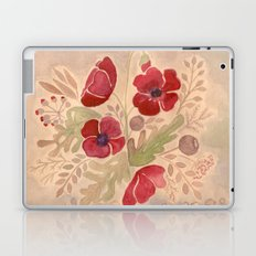 Watercolor poppies on old paper . Laptop & iPad Skin