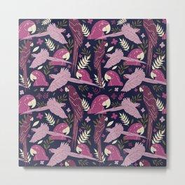 Ara Parrot Pattern Burgundy Pink On Dark Blue Metal Print