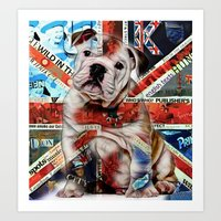 english bulldog Art Prints featuring English Bulldog by marvinblaine