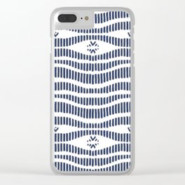 Indigo Pattern - Indigo / Navy & White Clear iPhone Case