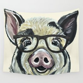 Pig with Glasses, Cute Farm Art Wall Tapestry