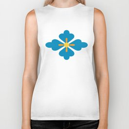Abstract blue blossoms geometric pattern, large scale Biker Tank