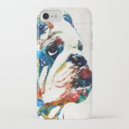 Bulldog Pop Art - How Bout A Kiss - By Sharon Cummings iPhone Case
