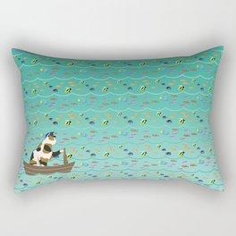 Captain Cat in seafoam Rectangular Pillow