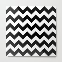 BLACK AND WHITE CHEVRON PATTERN Metal Print
