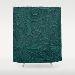 Deep Teal Tooled Leather Shower Curtain