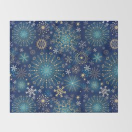Blue gold snowflakes  Throw Blanket