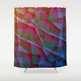 Bright contrasting fragments of crystals on irregularly shaped green and pink triangles. Shower Curtain