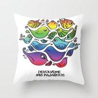 les mis Throw Pillows featuring Devuélveme mis pajaritos by Ju Tiscornia