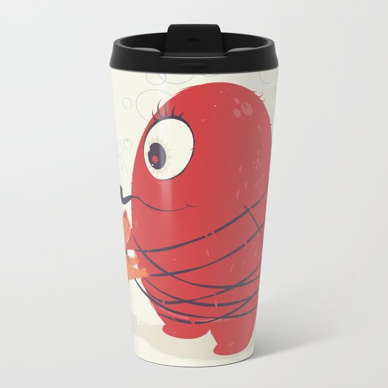 Cyclopes Monster Blob & Orange Dog Metal Travel Mug