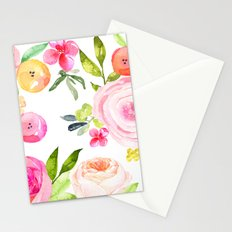 Floral Watercolor in Pinks, Coral, Yellow, and Greens Stationery Cards