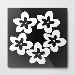 Black and White Plumeria Lei Metal Print