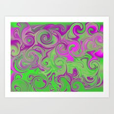 Pink and green  Art Print