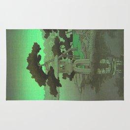 Kawase Hasui Vintage Japanese Woodblock Print Glowing Green Neon Sky Over A Zen Garden Shrine Rug
