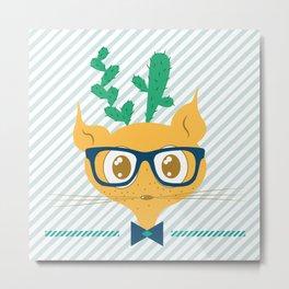 Cactus Cat Metal Print