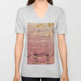 Watercolor Gradient Gold Foil II Unisex V-Neck