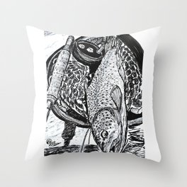 """""""Catch & Release"""" Trout Fly Fishing Art Throw Pillow"""
