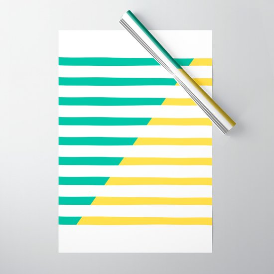 Beach Stripes Green Yellow by theoldartstudio