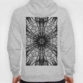 Black and White Abstract, Dark Marble, Mandala, Kaleidoscope, Geometric Art Print Hoody
