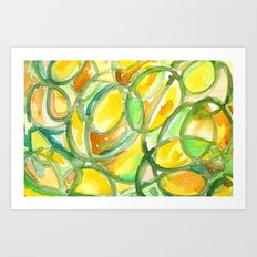 Yellow And Green Number Four Art Print