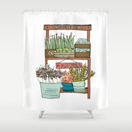 Mei's Farm Stand Shower Curtain
