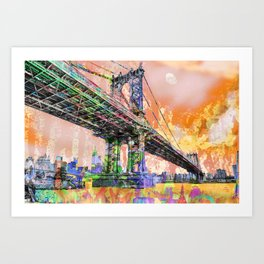 New York City Manhattan Bridge Gold Art Print