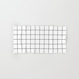Grid Stripe Lines Black and White Minimalist Geometric Hand & Bath Towel