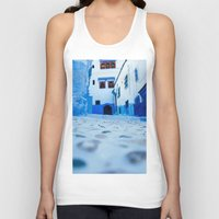 morocco Tank Tops featuring Chefchaouen, Morocco by Petrichor Photo