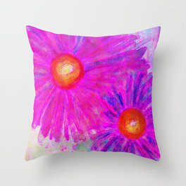 Bright Pink Sketch Flowers Throw Pillow