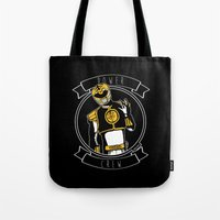 power ranger Tote Bags featuring Power Crew White Ranger by zombieCraig by zombieCraig