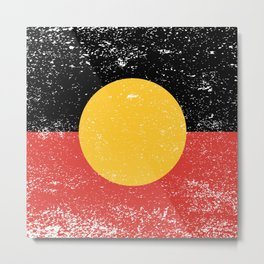 Australian Aboriginal Grunge Flag Metal Print