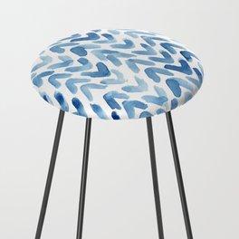 Blue Chevron Watercolour Counter Stool