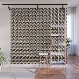 leigh - tan beige black ivory indigo geometric mosaic pattern Wall Mural