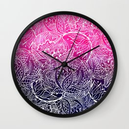 Boho pink navy blue watercolor ombre white abstract floral mandala illustration pattern Wall Clock
