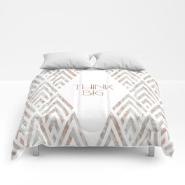 Graphic Art THINK BIG | rose gold & marble Comforters