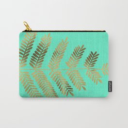 Leaflets – Turquoise & Gold Carry-All Pouch