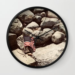 Proud Flag on Rocky Shores Wall Clock