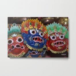 Tibetan Deity Masks Metal Print