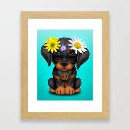 Cute Doberman Puppy Hippie Framed Art Print