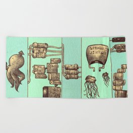 The Squid and The Capacitor Beach Towel