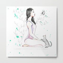 Yoga with her Cat Metal Print