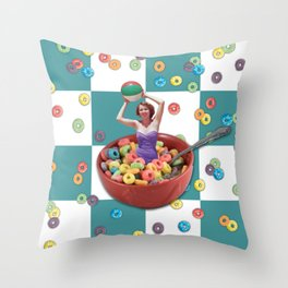 Cereal Bathing Beauty Pattern (blue) Throw Pillow