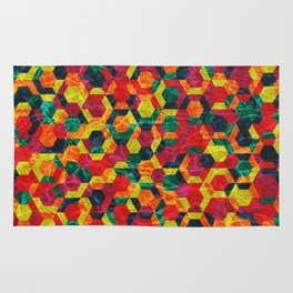 Colorful Half Hexagons Pattern #08 Rug